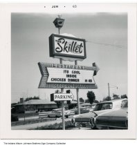 Image of The Skillet Restaurant, South Bend, Indiana, 1963 - This photo is timestamped Jun 63. [See ia-0184-0484 for a color version of this sign.]