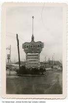 Image of Colonial Restaurant sign, Fort Wayne, Indiana, ca. 1960 - [See ia-0184-0401 for a different view of this sign.]