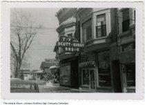 Image of Scott-Kindy Radio & TV, Goshen, Indiana, ca. 1960 - Goshen Electric Supply is seen next door.