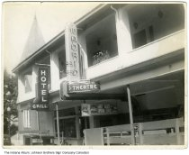 "Image of Madrid Theatre and Hotel, Indiana, 1939 - The movie shown at the theatre is ""Andy Hardy Gets Spring Fever,"" released in 1939. The building had the bus depot inside."