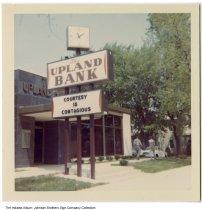 Image of Upland Bank, Upland, Indiana, ca. 1967 - A similar photo, ia-0184-0177, was stamped Jan 67.