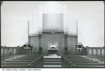 Image of Interior of Hope Moravian Church, Hope, Indiana, ca. 1955 - The front of the sanctuary showing the pipe organ and pews after renovation in the 1950s.