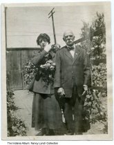 "Image of Patrick Roney and Ella Roney, Indianapolis, Indiana, ca. 1910 - Patrick Roney (1844-1922) and his daughter Nancy Elsa (""Ella"") are seen at his yard at 1250 S. Talbott Street."