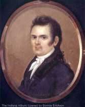 "Image of James Noble bust portrait miniature - Copy photo of a miniature portrait (probably on ivory) of James Noble (1785-1831) who was prominent in early Indiana history. Typed label on the back of the copy print: "" 1785 Berryville VA 2/26/1831 / James died in office Washington DC, buried in Congressional Cemetery.""