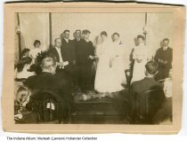 "Image of Wedding of Fred Long and Lottie Patterson, Beech Grove, Indiana, March 20, 1907 - Written on the back is ""Fred Long and Lottie Petterson were married March 20th 1907."" Lottie Dean Patterson was born in 1886; her grandparents were Leat and Lottie Mendenhall."