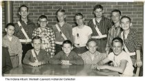 Image of Safety Patrol crossing guards, Beech Grove, Indiana, 1957 - The boys are identified on the back of the photo:  1st row (L-R): Mike Green, David Miller, Larry Hardesty, Skip McKinney, Jim Jordy.  Back row: Bob McCormick, Colin Harris, Walter Murphy, Bob Hamilton, Gary Francis, Mike Hayden, Chuck McCormick.