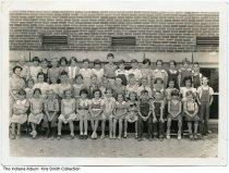 Image of Portrait of grade school children in front of a school, Lapel, Indiana, ca. 1930