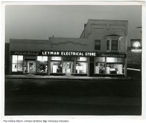 Image of Leyman Electrical store at night, Indiana, ca. 1950