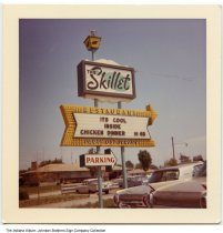 Image of The Skillet Restaurant sign, South Bend, Indiana, 1963 - [The black and white version of this photo was timestamped June 1963, and can be seen at ia-0184-0161.]