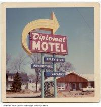 Image of Diplomat Motel sign, Elkhart, Indiana, ca. 1960 -
