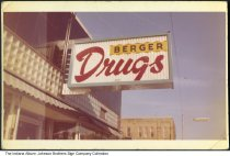 Image of Berger Drugs, Indiana, ca. 1960 - The drug store may have been located in Marion.