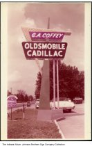 Image of G. A. Coffey Oldsmobile and Cadillac dealership, Kendallville, Indiana, ca. 1955