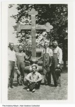 Image of Construction workers by a large cross, Indianapolis, Indiana, ca. 1925 - The photo could possibly be at Sacred Heart Church.