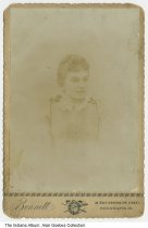 Image of Cabinet card of a young woman, Indianapolis, Indiana, ca. 1880 - Taken at Bennett Studio, 38 East Washington, Indianapolis.