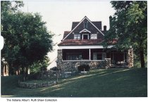 Image of Home with stone wall and foundation on Brookside Parkway, Indianapolis, Indiana, ca. 1990
