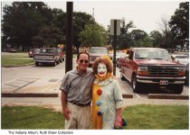 Image of A clown at a NESCO festival, Indianapolis, Indiana, ca. 1980 - Probably a participant in a Near East Side Community Organization event.