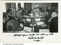 Image of George H. W. Bush visit to Indianapolis, Indiana, 6-20-1983 - Then Vice President George H. W. Bush is seen seated at a table at a meeting in Indianapolis.