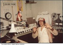 Image of WMRH radio station, West Lafayette, Indiana, 1982 - WMRH Radio station in the basement of Owen Hall at Purdue University. Joe Sipocz was an on-air talent.