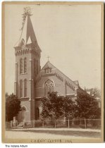 Image of Holy Guardian Angels Church, Cedar Grove, Indiana, 1906 - There is scaffolding around the church spire. This church closed December 1, 2013 when it merged into Saint Michael Parish.