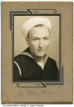 Image of John Benner in his Navy uniform, ca. 1942 - John William Benner of Randolph County was in the construction brigade in the Navy in World War II. He was the donor's grandfather.