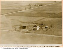 Image of Aerial view of a farm, Huntington County, Indiana, ca. 1940 - The farm was owned by Frank Bowman, and was occupied by Mr. & Mrs. Kell Wygant and their children Judy and Dean.