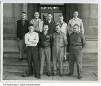 Image of Huntington County Selective Service inductees, Huntington, Indiana, 1951 - These nine men were chosen by Huntington County selective service board No. 33 to be inducted in the armed forces. They are: Front row (L-R) Orville Rupel, Samual R. Shook, Robert W. Sliger, John J. Kussmaul. Back row: Russell W. Broderick, Philip A., Jackson, James H. Karster, Rex K. Dalrymple. Rex Dalrymple was the son of Mr. & Mrs. Robert Dalrymple who once lived at 1300 Riverside Drive.