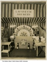 Image of Lafayette Brewery Trade Show exhibit, Indiana, ca. 1940s - The exhibit has signs for Ye Tavern Brew and a display on how beer is made.
