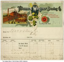 Image of Thieme & Wagner Brewing Co. letterhead on invoice, Lafayette, Indiana, 1918