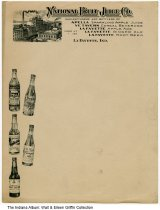 Image of Stationery letterhead for National Fruit Juice Co., Lafayette, Indiana, ca. 1925 - Letterhead for the National Fruit Juice Co. of Lafayette, Indiana. Products included Apella sparkling apple juice, Ye Tavern cereal beverage, La Fayette Apple Ade, ginger ale, and root beer.