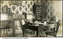 """Image of Chemistry library or workroom, West Lafayette, Indiana, ca. 1910 - Chemistry lab or library at Purdue University. A sign on the wall reads """"The (?) and improvements in this study are a gift from the Class of '04."""""""