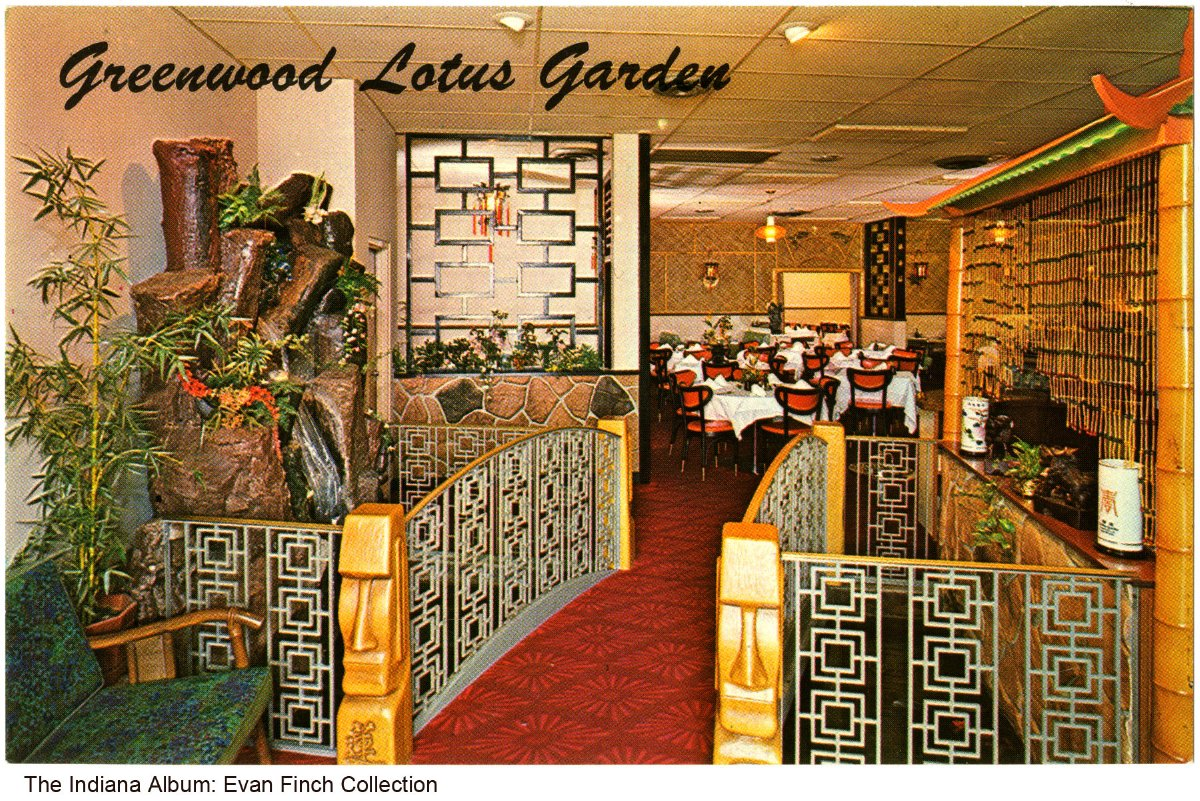 Postcard of the lotus garden interior greenwood indiana ca 1965 postcard showing the for China garden restaurant indianapolis in