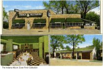 Image of Postcard of Rene's French Restaurant, Indianapolis, Indiana, ca. 1960 - Postcard showing three views of Rene's French Restaurant interior and exterior, and the Eaton Motel.