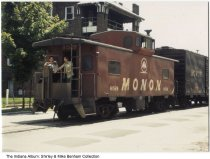 Image of 2 men on a Monon Railroad caboose, Lafayette, Indiana, ca. 1967 - The two men seen are a conductor and flagman for the Monon Railroad line.