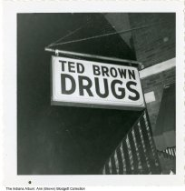 Image of Sign for Ted Brown Drugs, Indianapolis, Indiana, ca. 1960