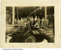 """Image of Workers at the Indianapolis Stove Company, Indianapolis, Indiana, ca. 1900 - Written on the back is """"Grandpa Brandt (Carl A.) with his crew."""" Carl was the foreman, and is on the far right. His father, Karl F., is the old man in the center."""