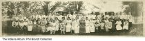 Image of Brandt family reunion, Indiana, 1921 - A panoramic photo showing a 1921 Brandt family reunion with 56 people present. The participants are identified in the second image.