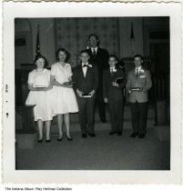 Image of Dale Methodist Church class, Dale Indiana, 1961 -  The Dale Methodist Church catechism class of 1961. (L-R) Sandra Woolsey, Nancy Springston, Ted Huppert, Ray Heilman, Mike Moesner, and Rev. Clarence Killion behind them.