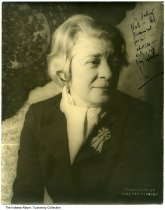 "Image of Portrait of Janet Flanner by Carl Van Vechten, ca. 1920 - This photo is inscribed ""To darling Nell - the permanent friend and adviser - with a life-long affection, Jan."" It was inscribed to Nellie Simmons Meier, the owner of Tuckway House on 3128 North Pennsylvania Street in Indianapolis, a noted salon for world-renowned artists and celebrities."