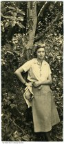 """Image of Snapshot of Hildrgarde Flanner Manhoff, ca. 1920 - Inscribed on verso is """"To Aunt Nell with love - Hildegarde"""".  Under a Murano tree in the Sierra Madre Mountains. This photo was part of the collection of Nellie Simmons Meier, the owner of Tuckway House on 3128 North Pennsylvania Street in Indianapolis, a noted salon for world-renowned artists and celebrities."""