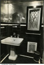 Image of Upstairs bathroom in Tuckaway, Indianapolis, Indiana, ca. 1925 - Tuckway House was owned by Nellie Simmons Meier and her clothing designer husband George Phillip Meier, and was a noted salon visited by world-renowned artists and celebrities.
