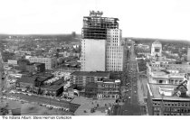 Image of Construction of the Bell Telephone building, Indianapolis, Indiana, 1966 - Construction of the Bell Telephone building at Meridian and Ohio Streets as seen from the top of the Soldiers' and Sailors' Monument.