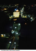 Image of Night view of Monument Circle, Indianapolis, Indiana, 1969 - The photo was taken from the top of the Bell Telephone (later AT&T) building. It is looking south on Meridian Street to Monument Circle.