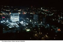 Image of Indiana War Memorial at night, Indianapolis, Indiana, 1969 - The photo was taken from the top of the Bell Telephone (later AT&T) building.