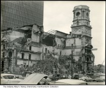 Image of Photo of demolition of Marion County Courthouse, Indianapolis, Indiana, June 1962 - Snapshot showing the demolition of the old Marion County Courthouse in Indianapolis, Indiana on June 13, 1962.  It was taken by photographer Arthur Wilson Hendricks of Indianapolis.