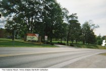 """Image of Indiana Soldiers' & Sailors' Children's Home entrance, Knightstown, Indiana, ca. 1990 -  The Indiana Soldiers' and Sailors' Children's Home opened in 1876 and closed around 2009. The sign reads """"Welcome Home Alumni."""""""