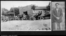 "Image of Orlan L. Morris Garage, Losantville, Indiana, 1917 - Cars line-up in front of the Morris Garage in Losantville, Indiana for this snapshot dated 1917. The automobile repair shop and gas station (notice the ""Gasoline"" shed in front) was operated by Orlan Leroy Morris (1887-1956) for several years in the late 1910s. To the right is a photo of Orlan Morris posing in front of the rusticated block garage at the southeast corner of Elm and West Vine Streets."