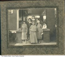 Image of Barrett Family gathering, Muncie, Indiana, ca. 1925 - Seen here are children and grandchildren of Solomon and Fanny Barrett at the home of Bess (Cook) Kallmyer. L-R front: Mary (Goldstine) Cook, Anna (Ringolski) Cook, Bess (Cook) Kallmyer. Back: Selma (Simon) Cook, Helen (Sullivan) Cook, and the child is Ann (Kallmyer) Secttor.