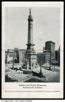 Image of Soldiers' and Sailors' Monument, Indianapolis, Indiana, ca. 1935 - View looking northeast at the northwest quadrant of Monument Circle. Buildings include Christ Church, the Columbia Club, and Fletcher Bank.