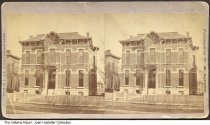 """Image of House on a residential street, Indianapolis, Indiana, ca. 1870s - This 1870s stereoview shows a two-story brick Italianate house, presumably in Indianapolis since it was published by photographer Wm. H. Salter of Indianapolis. Written on the back is """"Mary's house."""" A street number """"627"""" is visible near the door."""