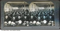 """Image of Soldiers' Home dining room, Marion, Indiana, 1898 - The front of this stereoview reads """"Keystone View Company Manufacturers and Publishers.  Copyright 1898."""" It shows a large number of older men eating a meal."""